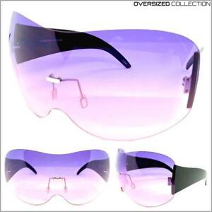 OVERSIZED FACE SHIELD VISOR EYE COVER SUN GLASSES Huge Jumbo XL Purple Pink Lens