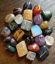 Rainbow Mix Lapis AMETHYST Citrine CARNELIAN Opalite +MORE! Rune Set & Pouch WOW