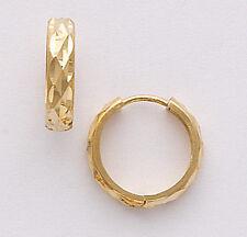 #GA37 Solid 14K Solid Yellow Gold 15mm Faceted Huggie Hoop Earrings