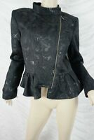 CUE black silver jacquard zipper peplum formal jacket size 14 BNWT