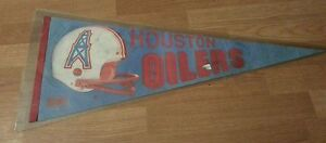 NFL Houston Oilers Vintage 1980's Football Pennant Autographed by 7 Players
