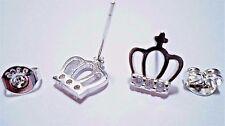 womens crystal crown/cross stud earrings 925 sterling silver