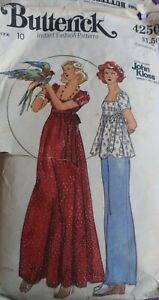 Vtg 1970s Butterick 4250 John Kloss Evening Dress Top Pants SEWING PATTERN 10