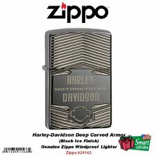 Zippo Harley-Davdison Carved Armor Case Lighter, Black Ice, Windproof #29165