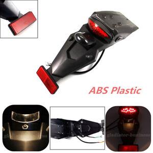 Black Motorcycle Rear Fender w/ Tail LED Light Mud Guard Universal Brake Stop