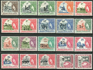 Basutoland 1961 QEII set of mint stamps value to R1  Lightly Hinged