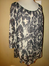 SWEET PEA 100% NYLON GRAY WHITE ART DECOR SHEER BLOUSE SHIRT TOP M