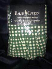 Rare! VTG Ralph Lauren Medium Gingham Forest Green Pair STD Ruffled Pillowcases