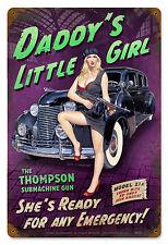 Daddy's Little Girl Hildebrandt Vintage Metal Sign PINUP Sexy Garage Art SIGNED
