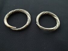 New ListingAncient Roman Thrace Thracian Silver Twisted Torque Earrings Pair