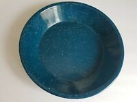 Enamel Ware Blue Pie Plate 10 Inch Shallow Pan Vintage