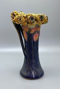 """Art Nouveau 10"""" Yellow Roses Amphora Austria"""