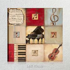 classic music QUADRO INTELAIATO MODERNO 50x50 STAMPA SU TELA MUSICA ASTRATTO