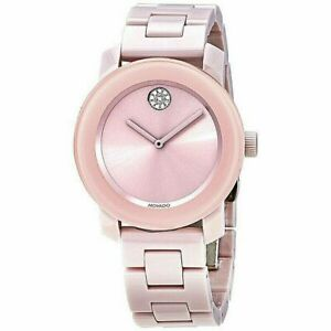Movado Bold Pink Ceramic Crystal Dot Woman's Swiss Watch 3600615
