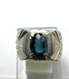 Natural London Blue Topaz Gemstone Real Diamond 18K White Gold Men's Ring #2143