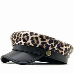 Motif Léopard Simili Cuir Béret Style Militaire Chapeau Pour Femme Réglable Rope