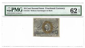 10 CENTS FRACTIONAL CURRENCY, SECOND ISSUE, PMG UNCIRCULATED 62 EPQ, FR-1244