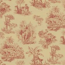 Safari Animal Toile Elephant Tiger Giraffe Monkeys Palm Trees Designer Wallpaper