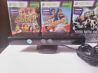 Microsoft Xbox 360 Kinect Motion Sensor Bar Bundle Lot w/ 3 Kinnect Video Games
