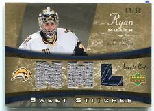 2006-07 Sweet Shot Sweet Stitches Duals RM Ryan Miller Dual Jersey 3/50