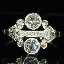 Vintage Edwardian Art Deco Ring Engagement Ring 3 Ct Diamond 14K White Gold Over