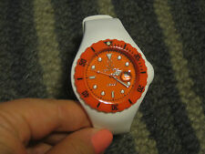 TOY WATCH WHITE W NEON ORANGE FACE WATER RESISTANT WATCH WRISTWATCH DATE UNISEX