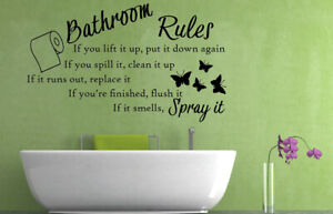 Bathroom Rules Quote, Vinyl Wall Art Sticker, Mural, Decal. Home, Wall Decor.