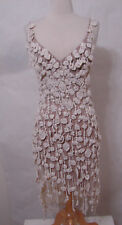 CARLOS MIELE Rare Crochet Nude Illusion Asymmetrical Tiered Low Back Dress XS