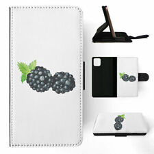 APPLE iPHONE FLIP LEATHER CASE WALLET COVER|WATERCOLOR BLACKBERRY FRUIT