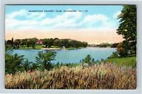 Galesburg IL, Soangataha Country Club, Illinois, Linen Postcard Z34