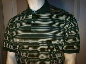 NEW Youngor Medium Yellow Stripe on Green Cotton Polo/Golf Shirt