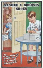 More details for advertising coloured art style greetings postcard, saxone & sorosis shoes