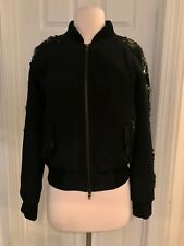 J.CREW COLLECTION SEQUIN-SLEEVE BOMBER JACKET SIZE S BLACK B6297