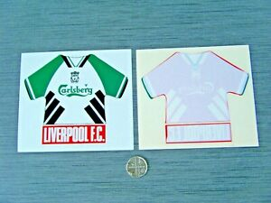 LIVERPOOL FC STICKERS -  1993 CARLSBERG SHIRT DESIGN - HOME & AWAY - NEW UNUSED