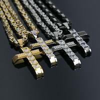 "24"" 28"" Men Stainless Steel Black Gold Silver Byzantine Cross Pendant Necklace"