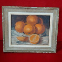 Tableau signé Nature morte aux oranges 1899 signature à identifier