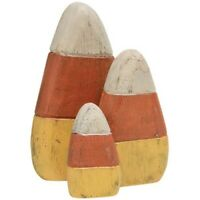 WOODEN CANDY CORN 3 pcs Primitive Grungy Shelf Sitters Halloween Crafts Fall