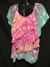 Millers pink  Green floaty psychedelic layered pattern Top SZ 20