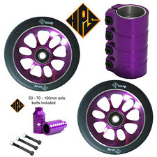 PRO STUNT SCOOTER SET 2 110mm PURPLE CORE WHEELS ABEC 11 BEARING PEGS SCS CLAMP