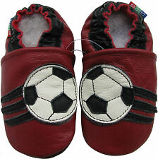 carozoo soccer dark red 6-12m C2 soft sole leather baby shoes