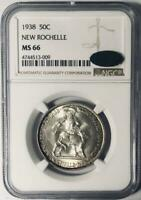 1938 New Rochelle Commemorative Silver Half Dollar NGC MS 66 CAC - Mint State 66