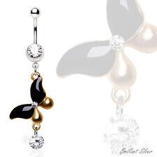 Piercing de Ombligo Ombligo Colgante mariposa oro negro cristales blancos