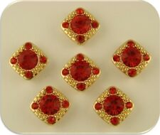 "2 Hole Beads ""Gala"" w/ Red Siam Swarovski Crystal Elements GOLD ~ Sliders QTY 6"