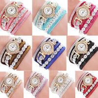 Luxury Women's Watch Bracelet Crystal Leather Dress Analog Quartz Wrist Watches
