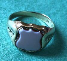 Genuine Antique 14ct Gold Blue & Orange Carnelian Men's Signet Ring. Circa 1910.