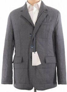NWT Zanella Quilted Blazer Smart Casual Jacket Gray Black Outerwear Size Large
