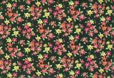 1 3/4 Yards of Black with Red and Yellow Calico Quilting Fabric
