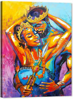 African American Lovers Couple Wall Art Painting Canvas