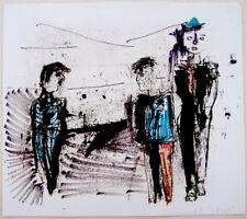 1961 Israel HAND SIGNED ART PAINTING Jewish MIXED MEDIA Moshe GIVATI Hebrew