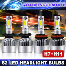 4x Combo H11+ H7 LED Headlight High Beam Low Beam Kit Car Driving 6000K  400W